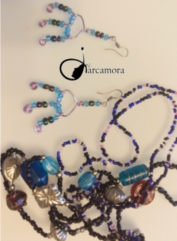 Bisutería Fácil Paso a Paso: Pendientes azules y Collar de cuentas vintage